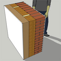 brick wood fibre insulation studs render