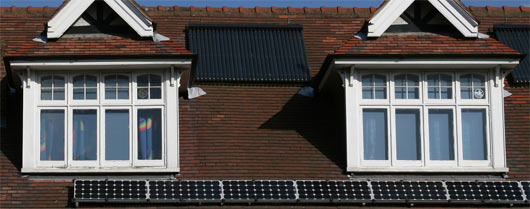 roof with solar pv panels